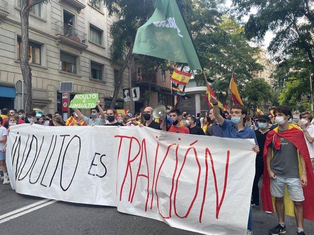Manifestación en Barcelona en contra de los indultos a los presos del 1-O. En Barcelona el 22 de junio de 2021.