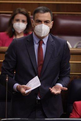 El presidente del Gobierno, Pedro Sánchez, interviene en una sesión de control al Gobierno en el Congreso de los Diputados, a 23 de junio de 2021.