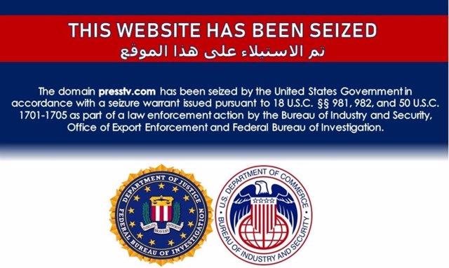 """Mensaje publicado en la página web de la cadena de televisión de Irán Press TV tras su """"confiscación"""" por parte de EEUU"""