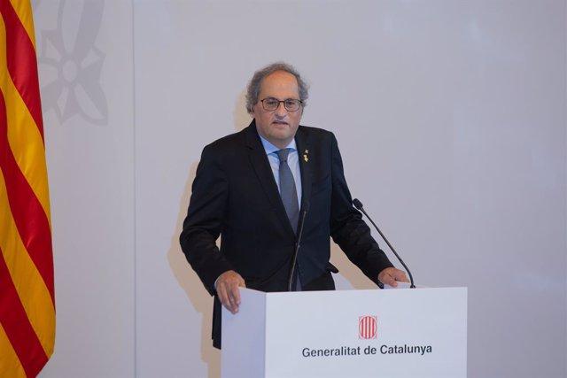 L'expresident de la Generalitat, Quim Torra, durant l'acte de presentació de l'informe del grup de treball 'Catalunya 2022', a 10 de juny de 2021, a Barcelona, Catalunya (Espanya). ARXIU.