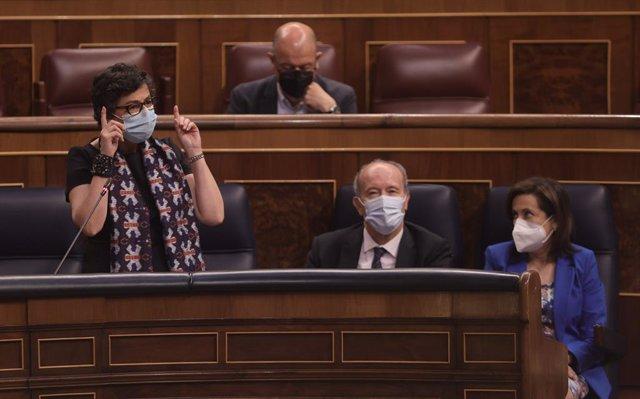 La ministra de Asuntos Exteriores, Unión Europea y Cooperación, Arancha González Laya, interviene en una sesión de control al Gobierno, a 9 de junio de 2021, en el Congreso de los Diputados, Madrid, (España). La sesión, marcada por la ausencia del preside