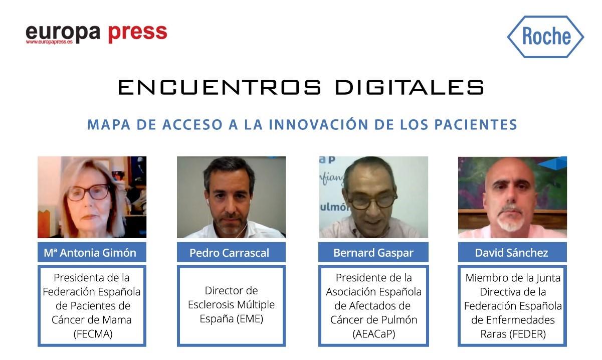 Montaje con intervinientes del encuentro digital de Europa Press 'Mapa de acceso a la innovación de los pacientes'