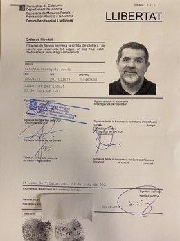 Ordre d'alliberament del secretari general de Junts, Jordi Sànchez, que serà excarcerat de Lledoners (Barcelona)