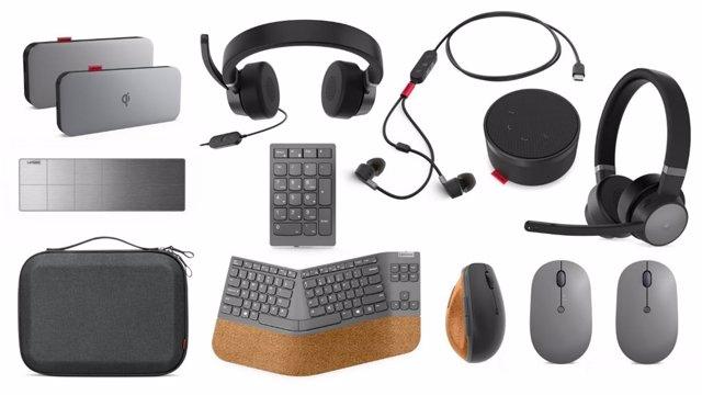 Nuevos accesorios de la familia Lenovo Go para el teletrabajo presentados por Lenovo antes del MWC 2021.