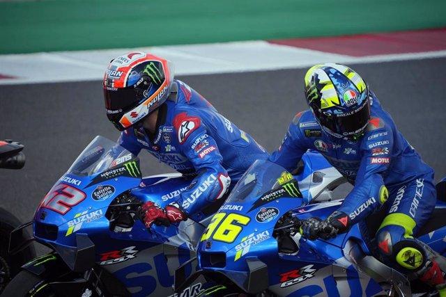 Archivo - Alex Rins y Joan Mir durante el Gran Premio de Portugal 2021