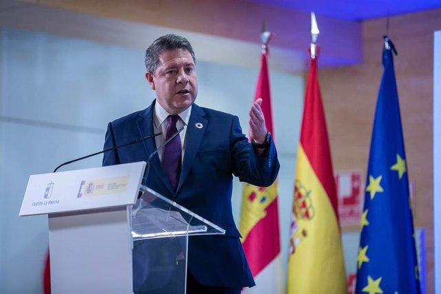 El presidente de Castilla-La Mancha, Emiliano García-Page, asiste al acto de presentación de la 'Estrategia Agenda 2030' de la región