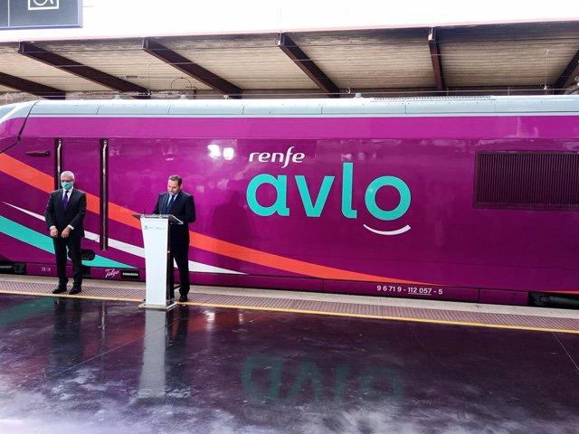 El ministre de Transports, Mobilitat i Agenda Urbana, José Luis Ábalos, en l'acte de presentació d'Avlo.