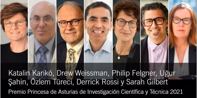 Katalin Karikó, Drew Weissman (inmunólogo), Philip Felgner, Ugur Sahin , Özlem Türeci, Derrick Rossi, Y Sarah Gilbert, Premio Princesa de Asturias de Investigación Científica y Técnica 2021.