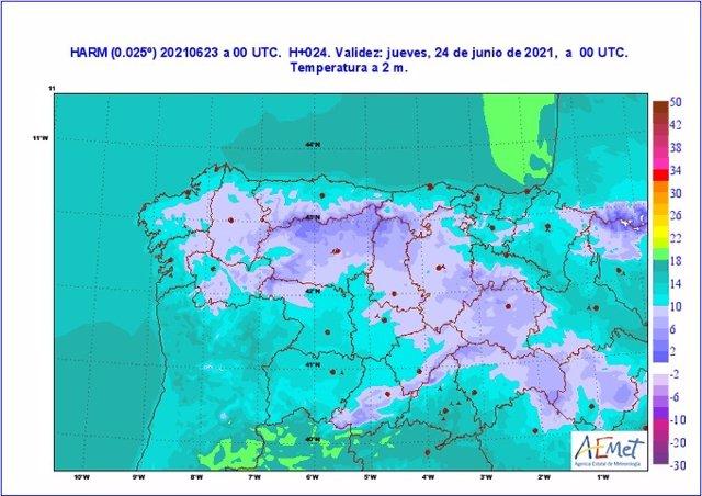Mapa facilitado por la Aemet sobre la previsión meteorológica en CyL en la noche de San Juan