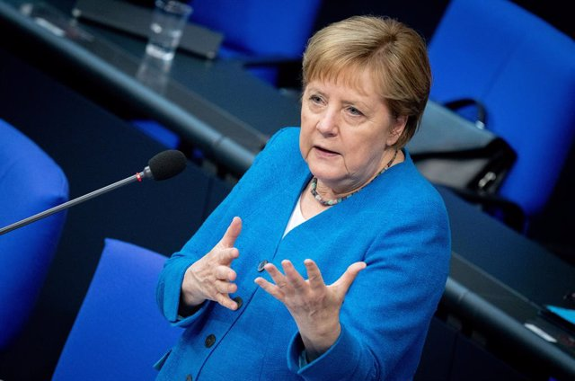 23 June 2021, Berlin: German Chancellor Angela Merkel speaks during a plenary session of the Bundestag in the last government questioning during her term in office. Photo: Kay Nietfeld, Christoph Soeder/dpa
