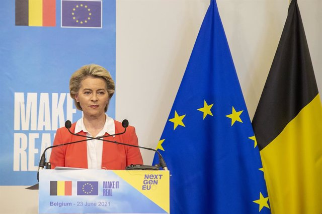 23 June 2021, Belgium, Brussels: European Commission President Ursula Von der Leyen speaks during a press conference following her meeting with Belgian Prime Minister Alexander De Croo. Ursula visits Belgium to hand over the evaluation of the European Com