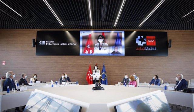 Díaz Ayuso en su intervención en el Primer Encuentro Internacional sobre el Covid-19 bajo el lema 'Mejores Prácticas' en el Zendal