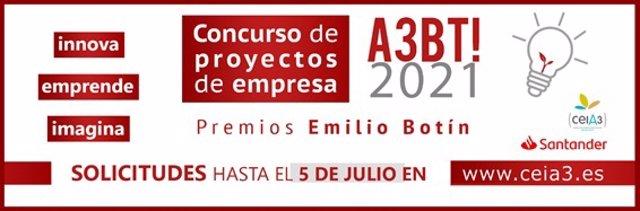 Cartel del concurso del ceiA3 de proyectos de empresa 'A3BT! 2021'.