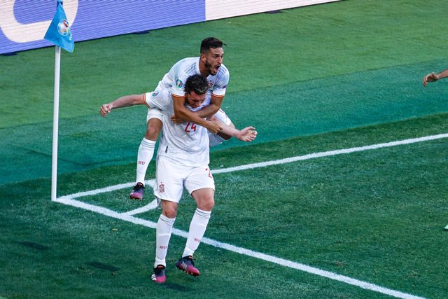 Aymeric Laporte of Spain celebrates a goal with teammates during the UEFA EURO 2020 Group E football match between Slovakia and Spain at La Cartuja stadium on June 23, 2021 in Seville, Spain.