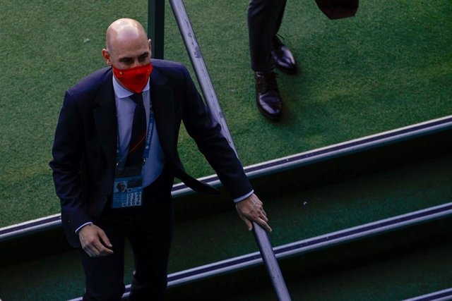 Luis Rubiales, President of the Spanish Football Federation, is seen during the UEFA EURO 2020 Group E football match between Spain and Poland at La Cartuja stadium on June 19, 2021 in Seville, Spain.