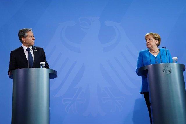 Antony Blinken y Angela Merkel durante una rueda de prensa conjunta