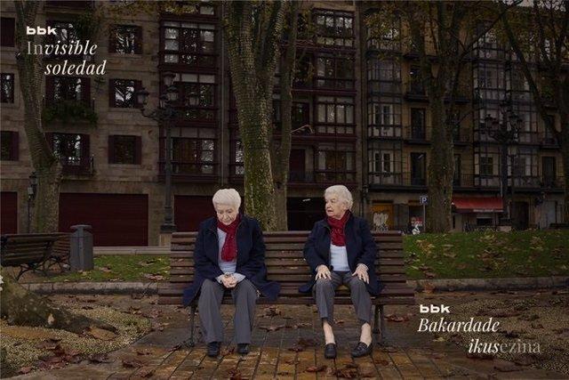 """Archivo - """"Mercedes"""", imagen de la campaña """"Invisible Soledad"""" de BBK para concienciar de la soledad no deseada de los mayores"""