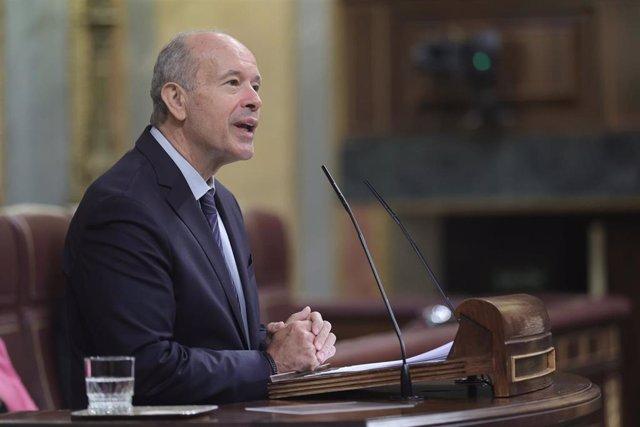 El ministro de Justicia, Juan Carlos Campo, interviene en una sesión de control al Gobierno en el Congreso de los Diputados, a 23 de junio de 2021, en Madrid, (España).