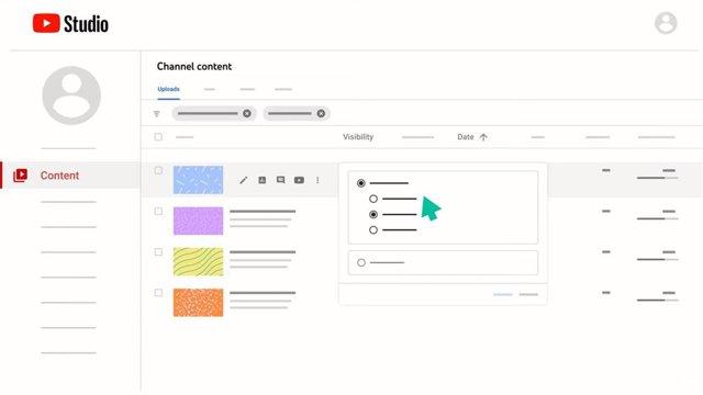Representación gráfica del proceso para cambiar la visibilidad de un vídeo en YouTube Studio
