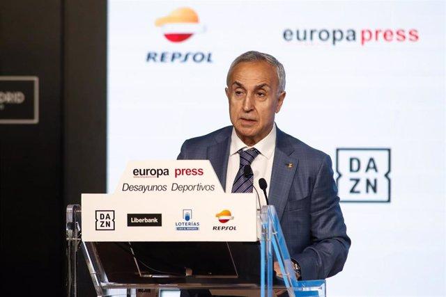 El presidente del Comité Olímpico Español, Alejandro Blanco, durante su intervención en los Desayunos Deportivoss de Europa Press