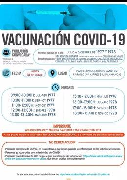 Gráfico con vacunación el lunes, 28 de junio, en el Multiusos Sánchez Paraíso de Salamanca.