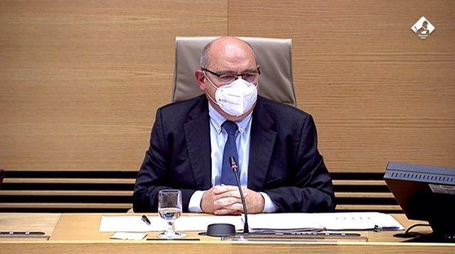 El secretario general de Universidades, José Manuel Pingarrón, en la Comisión de Ciencia, Innovación y Universidades de este jueves del Congreso