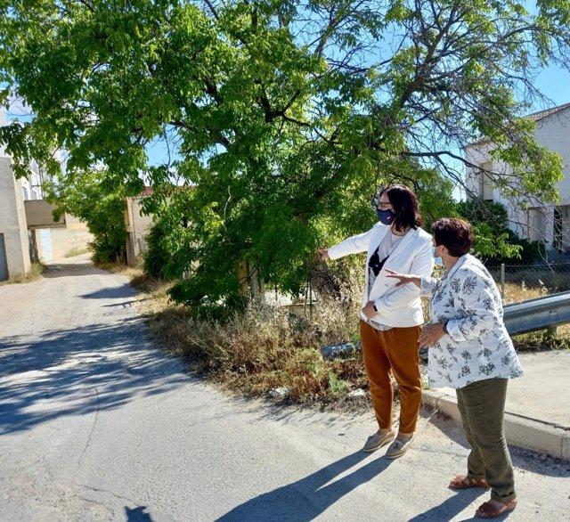La delegada de Agricultura, Ganadería y Pesca de la Junta en Granada, María José Martín Gómez, junto a la alcaldesa de Huéscar, Soledad Martínez, visita el Camino 'Vegas de Parpacén-Montilla'.