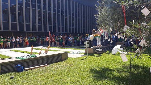 Protesta de los interinos en la Diputación