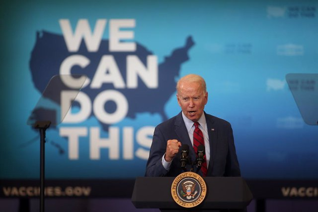 24 June 2021, US, Raleigh: US President Joe Biden speaks during his visit to the Green Road Community Center in Raleigh,as part of his continued efforts to encourage people across the country to get the Coronavirus (Covid-19) vaccine. Photo: Bob Karp/ZUMA