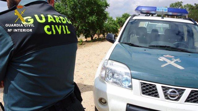 Agente de la Guardia Civil junto a su vehículo