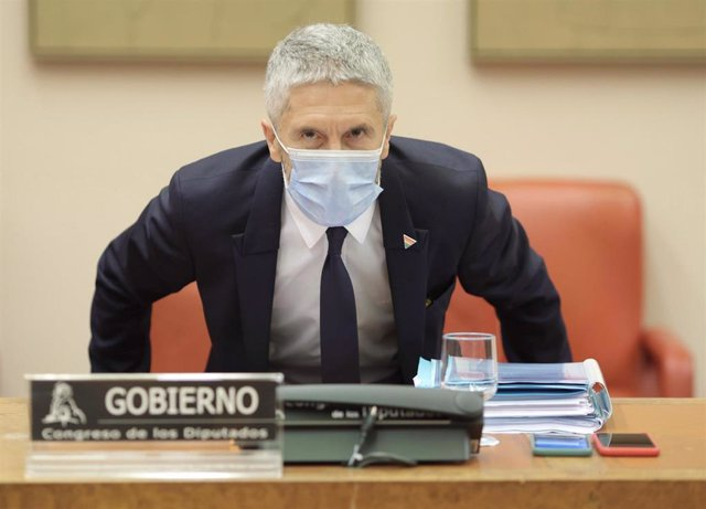 El ministro del Interior, Fernando Grande-Marlaska, a su llegada a la Comisión de Interior del Congreso