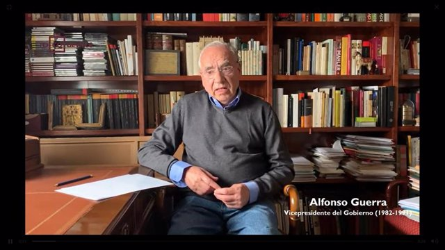 Archivo - El exvicepresidente del Gobierno Alfonso Guerra (PSOE) en un video del Club Tocqueville sobre política y coronavirus