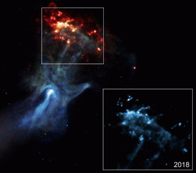 MSH 15-52 Mano cósmica golpeando un muro