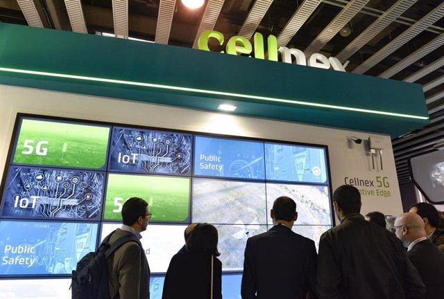 Estand de Cellnex en el Mobile World Congress de 2019.