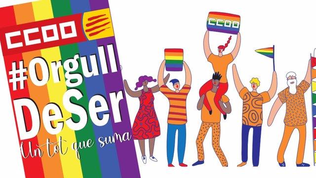 Cartel de CC.OO. Para el día del Orgullo LGTBI+