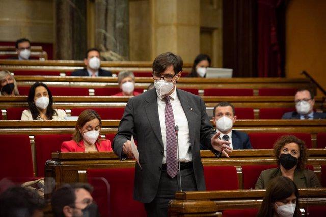Arxiu - El líder del PSC, Salvador Illa, al Parlament de Catalunya.