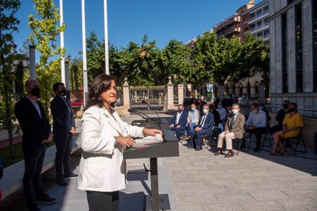 La presidenta del Gobierno de La Rioja, Concha Andreu, en el acto con alcaldes de más de 2.000 habitantes