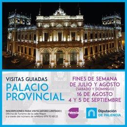 Cartel de las visitas guiadas al Palacio Provincial de Palencia.