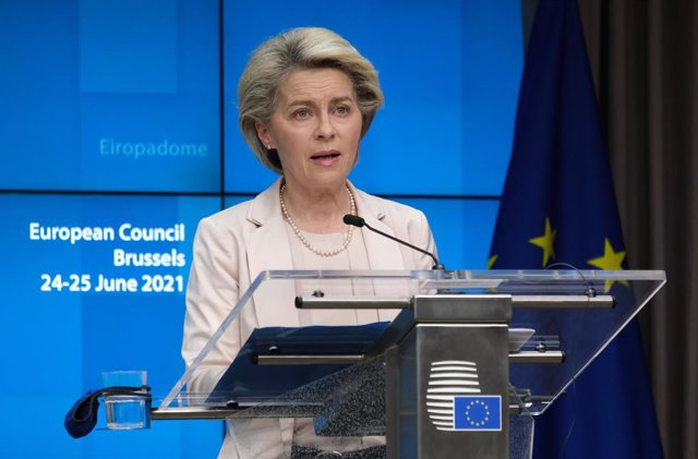 HANDOUT - 25 June 2021, Belgium, Brussels: President of the European Commission Ursula von der Leyen speaks during a press conference after a two-days European Union summit at the European Council. Photo: Alexandros Michailidis/European Council/dpa - ATTE