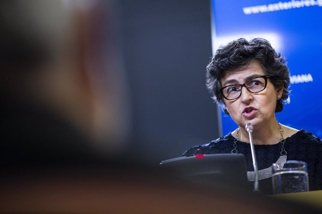 La ministra de Asuntos Exteriores, Unión Europea y Cooperación, Arancha González Laya, comparece en rueda de prensa, después de la reunión con su homóloga de la República de Panamá, a 24 de junio de 2021, en el Palacio de Viana, Madrid, (España).  La mini