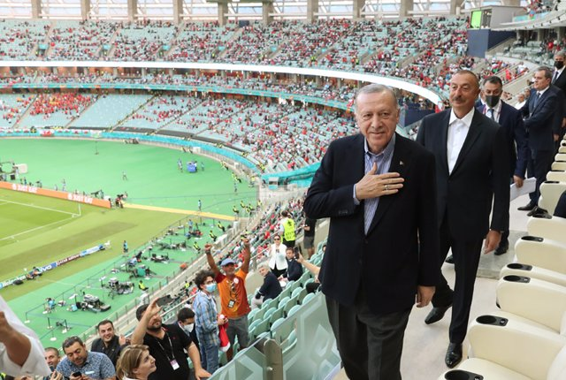 HANDOUT - 16 June 2021, Azerbaijan, Baku: Turkish President Recep Tayyip Erdogan attends the UEFA Euro 2020 Group A soccer match between Turkey and Wales at the Baku Olympic Stadium. (Best Quality Available) Photo: Mcm/Turkish Presidency/dpa - ATTENTION: