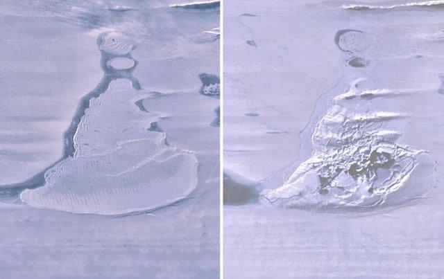 Imágenes de Landsat 8 sobre la plataforma de hielo del sur de Amery muestran el lago cubierto de hielo antes del drenaje y la dolina de hielo resultante con agua de deshielo de verano.Imágenes de Landsat 8 sobre la plataforma de hielo Amery