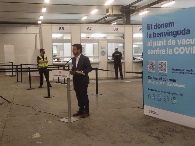 El president de la Generalitat, Pere Aragonès, després de vacunar-se contra la covid-19