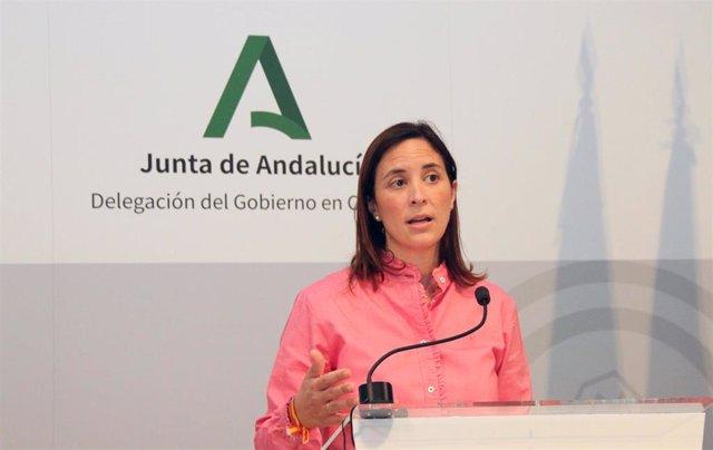 La delegada de Cultura y Patrimonio de la Junta de Andalucía en Córdoba, Cristina Casanueva, en rueda de prensa.