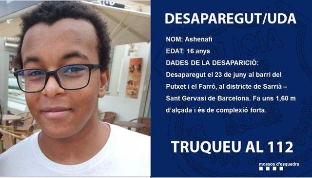 Foto d'Ashenafi, l'adolescent de 16 anys de Barcelona que va desaparèixer abans de la revetlla de Sant Joan.