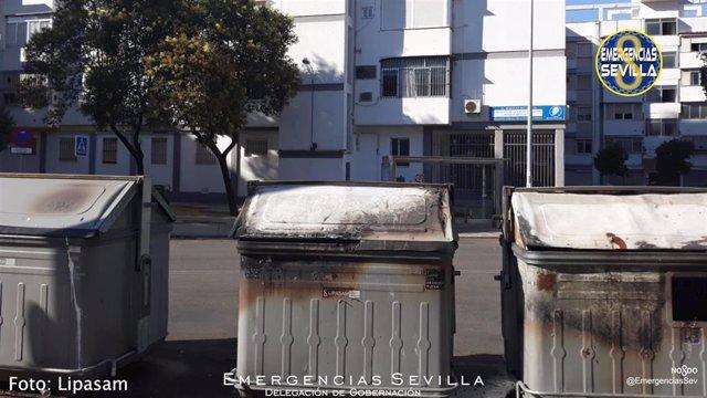 Contenedores quemados en San Pablo