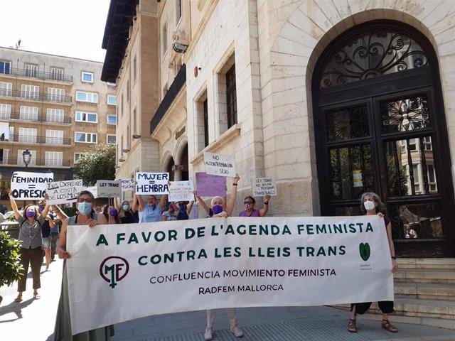 """Un grupo de feministas exigen en Palma """"el cumplimiento de la agenda feminista"""" y la """"derogación de las leyes trans"""""""