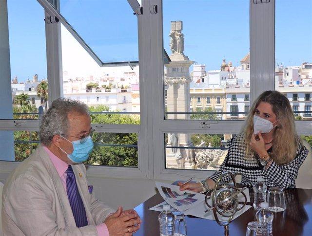 Archivo - La delegada de la Junta de Andalucía en Cádiz, Ana Mestre, ha mantenido un encuentro con el nuevo presidente de la Real Academia de las Bellas Artes de Cádiz, José María Esteban.