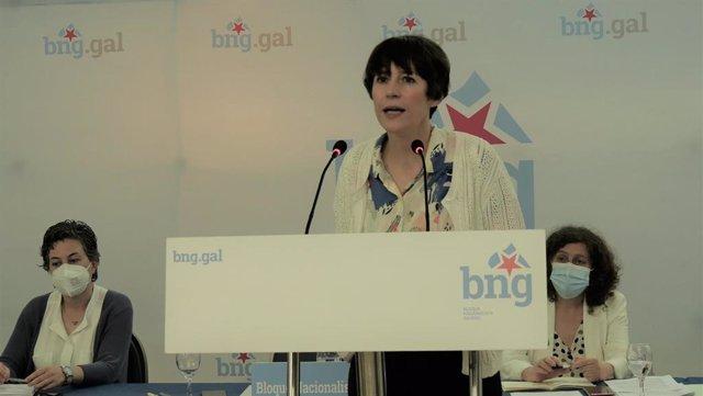 La portavoz nacional del BNG, Ana Pontón, interviene ante el Consello Nacional.