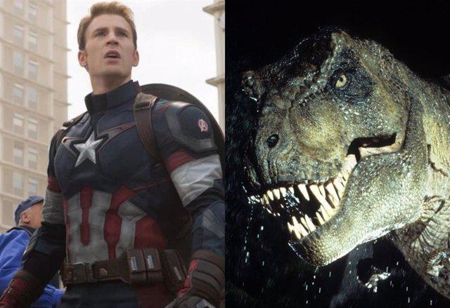 Chris Evans como Capitán América junto a uno de los dinosaurios de Jurassic Park